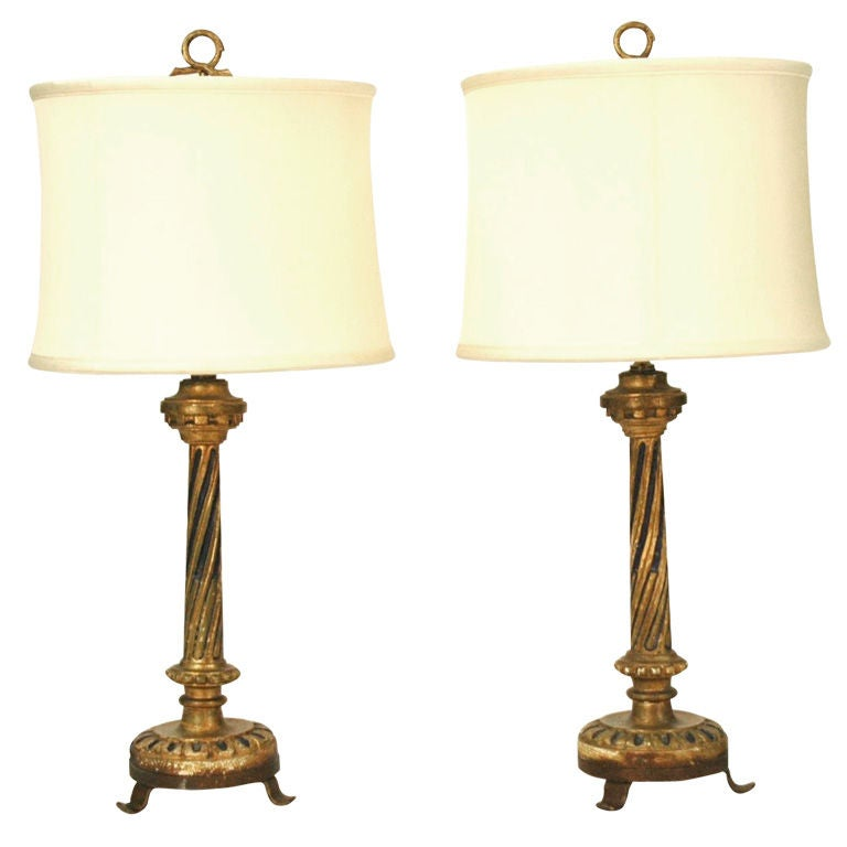Italian Pair Of Candlesticks Made Into Lamps At 1stdibs