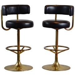 Gio Ponti Chair Lumbar Support Office Cushion Pair Of Vintage Swivel Brass Bar Stools At 1stdibs