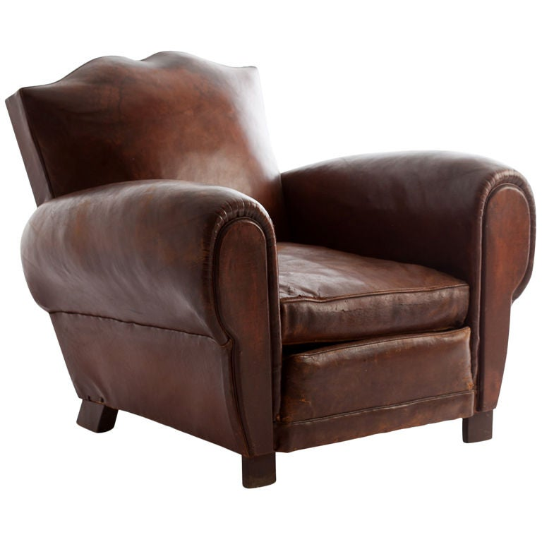 French Leather Club Chair At 1stdibs