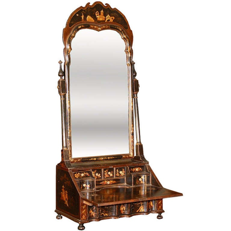 Chinoiserie Vanity Mirror On Miniature Bureau Secretaire
