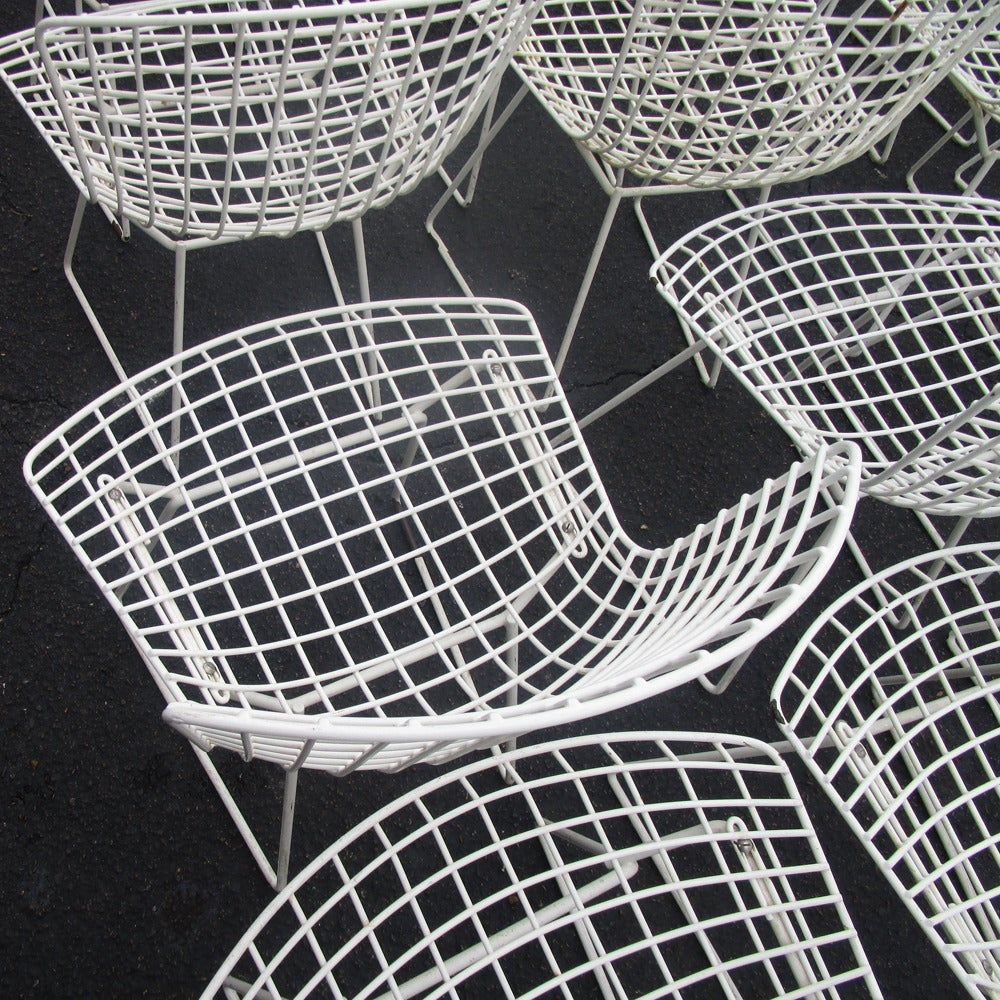 bertoia wire chair original dining upholstery fabric online vintage white knoll mesh side for sale at 1stdibs