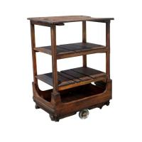 French Industrial Wooden Rolling Cart For Sale at 1stdibs