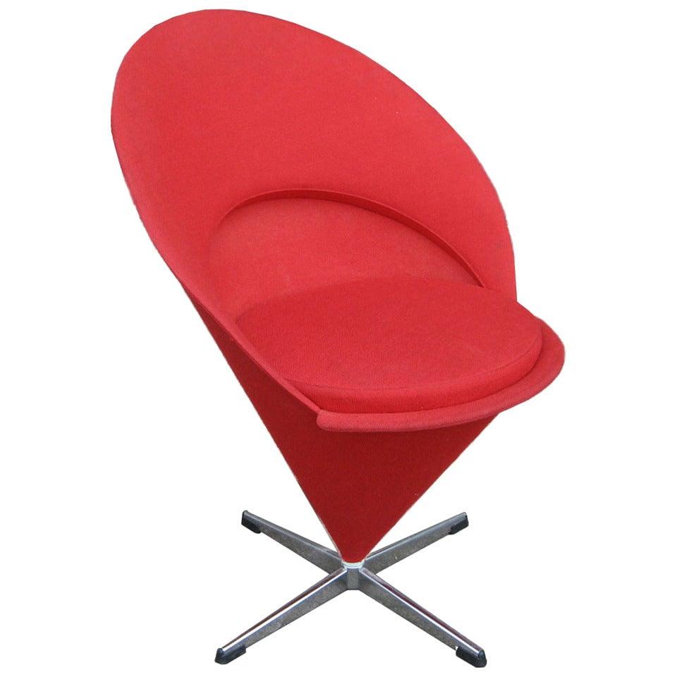 Vintage Verner Panton For Plus Linje Cone Chair At 1stdibs