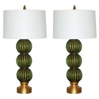 Green Stacked Three Ball Murano Lamps in Emerald and Gold