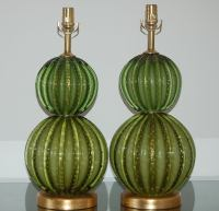 Vintage Green Stacked Murano Lamps by Barovier and Toso at