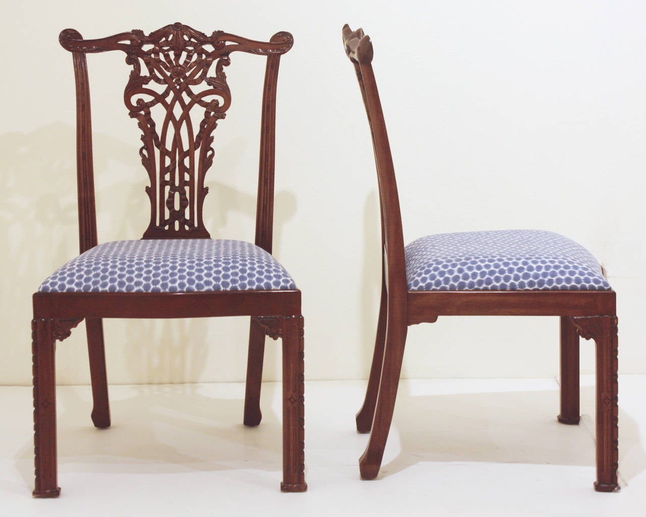 maitland smith dining chairs upholstered room with arms set of 16 chippendale style ribband back by