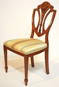 Pair of Painted Edwardian Satinwood Shield Back Chairs at ...