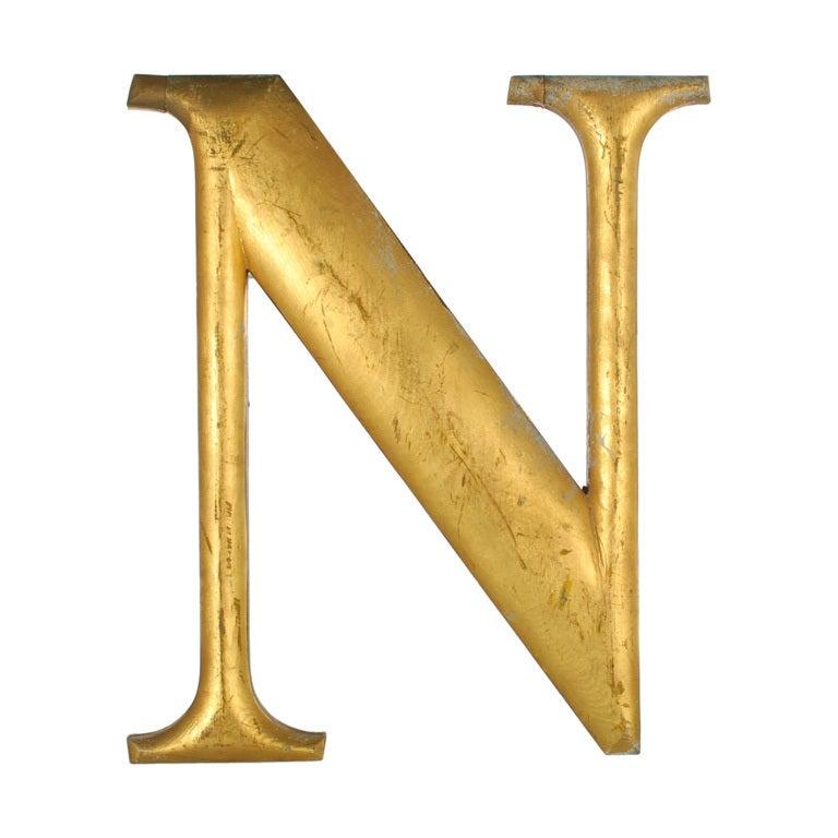 Large Antique Gold Leaf Letter N From A Sign At 1stdibs
