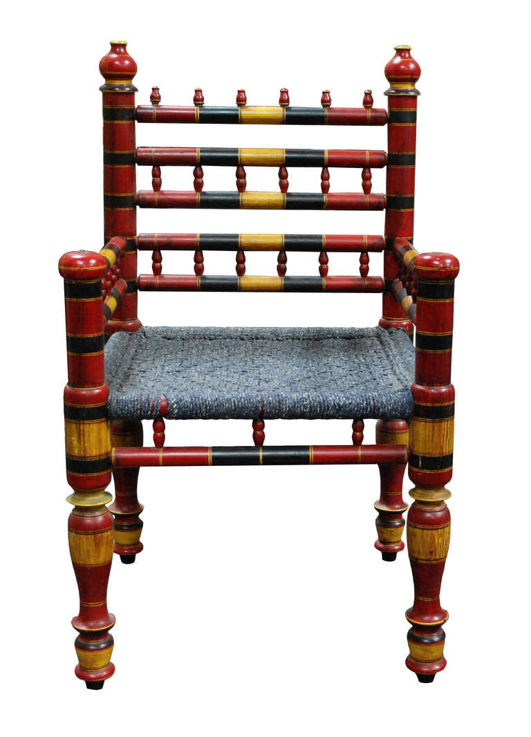 Indian Painted Chairs at 1stdibs