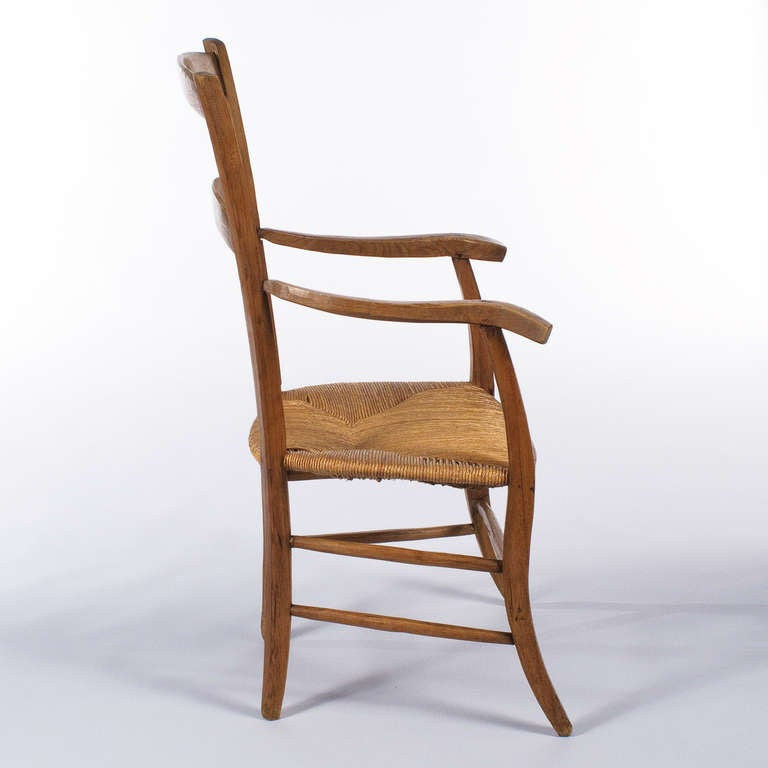 French Country Style Rush Seat Armchair at 1stdibs