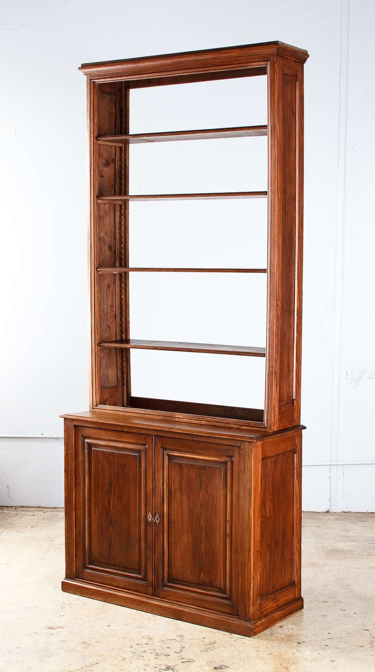 Early 1900s French Pine Bookcase With Cabinet At 1stdibs