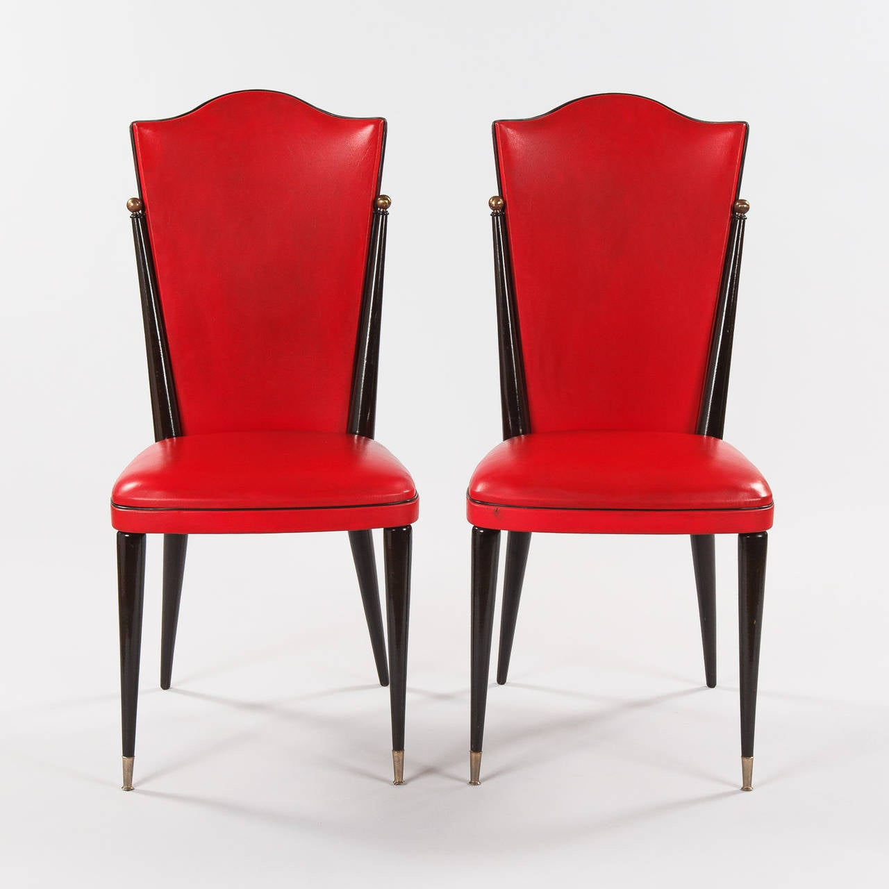 red chairs for sale chair cushion covers diy pair of vintage french vinyl side 1960s