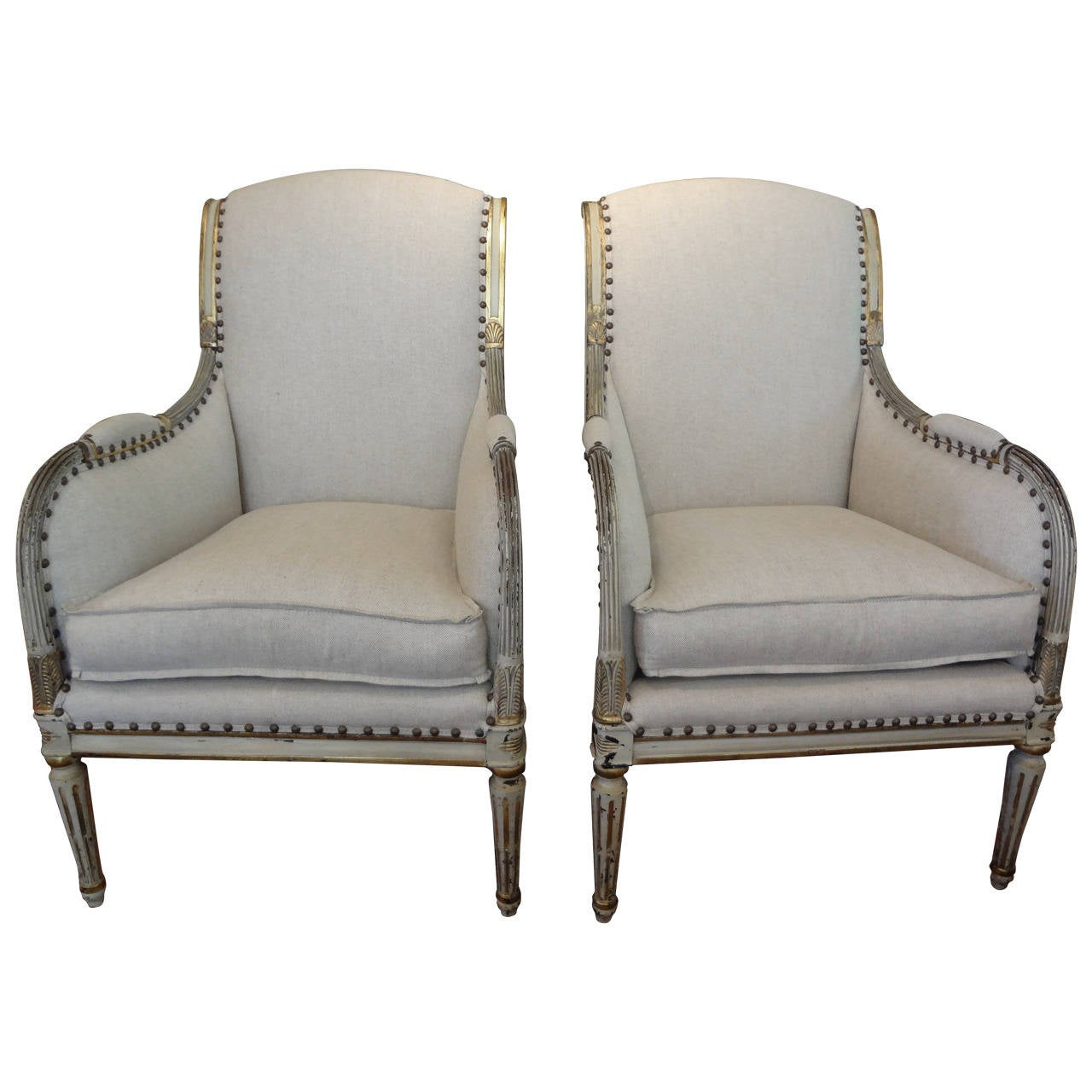 french canopy chair clearance beach chairs pair of 19th century swedish gustavian style bergeres at