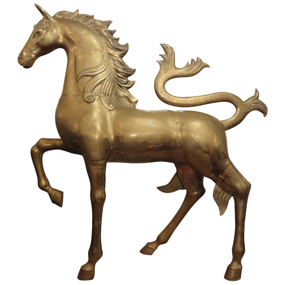 hollywood regency brass unicorn