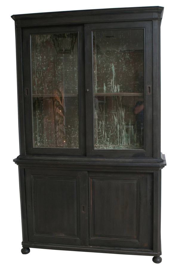 Black Bookcase with Glass Front
