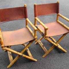 Bamboo Directors Chairs Barcelona Chair Leather Cushions Pair Of And Director 39s At 1stdibs