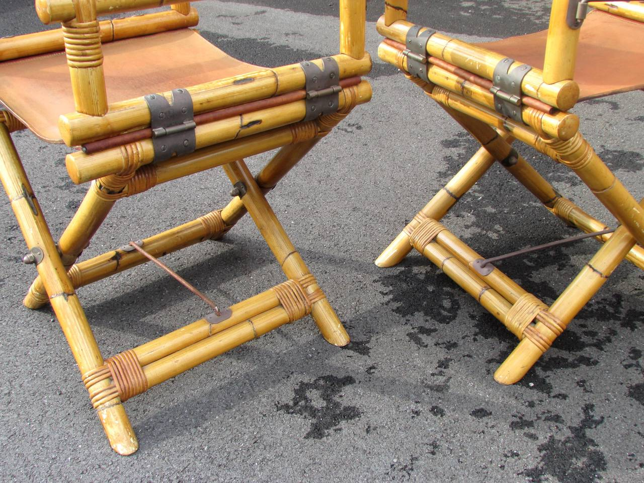 bamboo directors chairs kitchen with rollers pair of and leather director 39s at 1stdibs