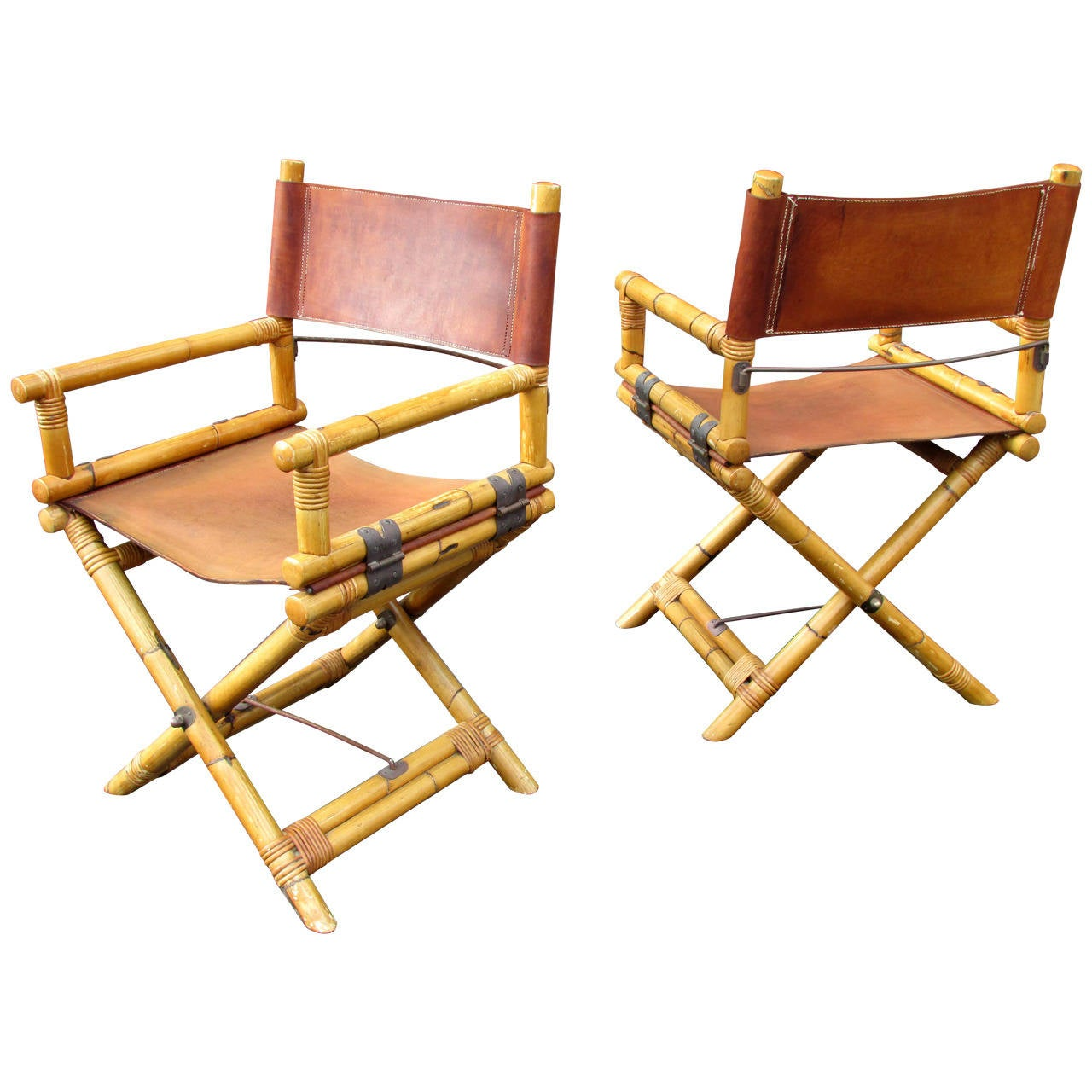 bamboo directors chairs reclining rocking chair nursery pair of and leather director 39s at 1stdibs