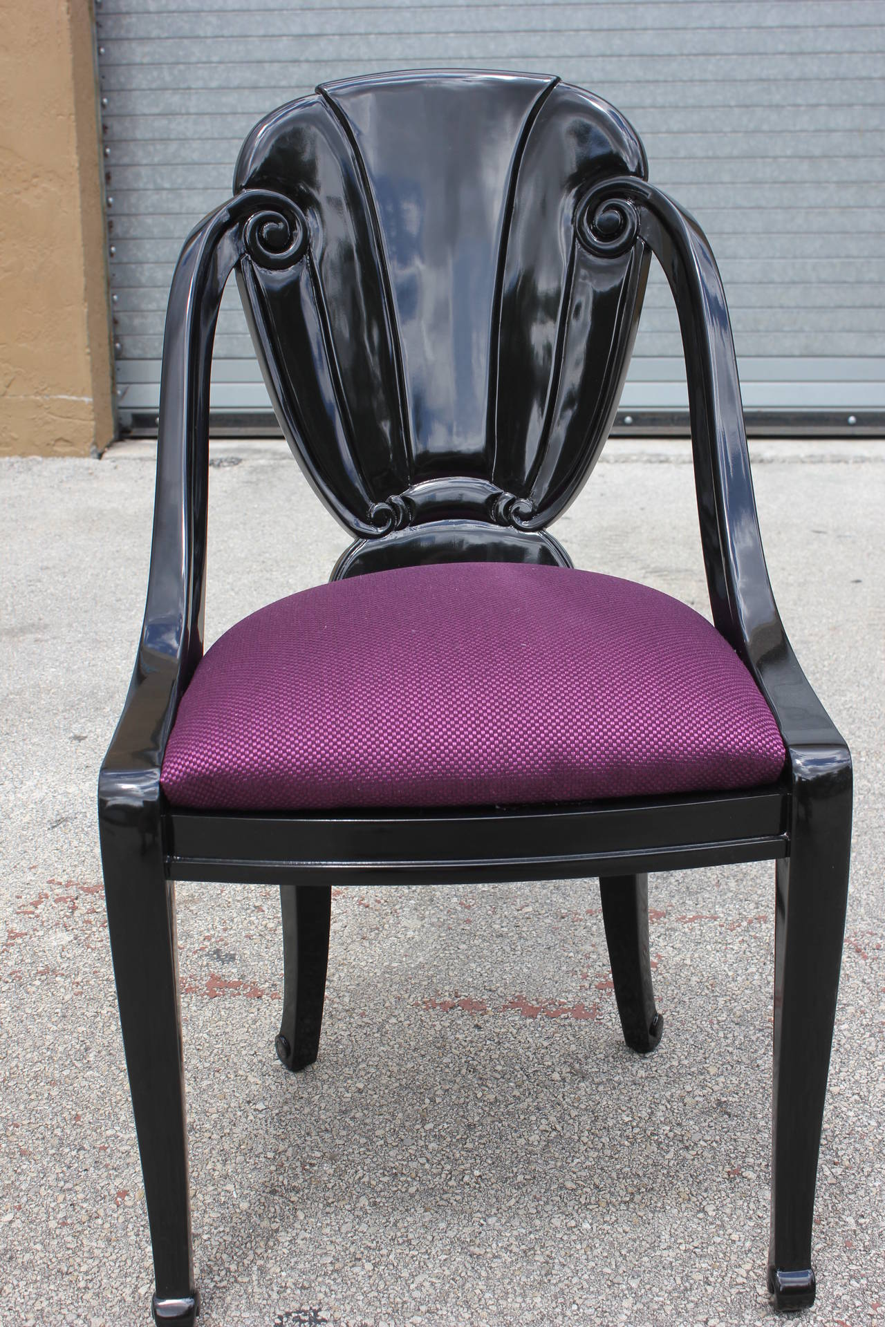 purple upholstered dining chairs movie for sale pair of black lacquered french art deco by