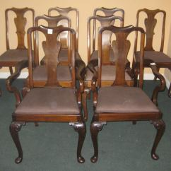 Queen Anne Dining Chair Glider Patio Chairs Set Of Eight Mahogany At 1stdibs