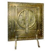 Art Deco Fireplace Brass Screen with 3D Modernist Design ...