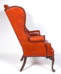 Cognac Leather Wingback Chair at 1stdibs