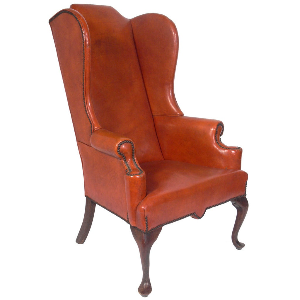 Wing Chair Cognac Leather Wingback Chair At 1stdibs