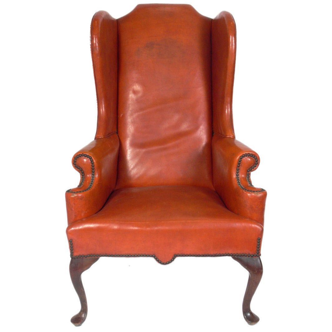 oxblood leather wing chair ergonomic purpose cognac wingback at 1stdibs