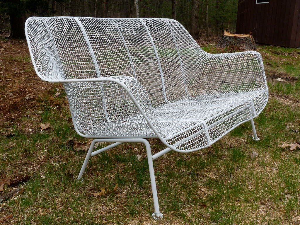 Mesh Lounge Chair Wire Mesh Settee And Pair Spring Lounge Chairs By Woodard