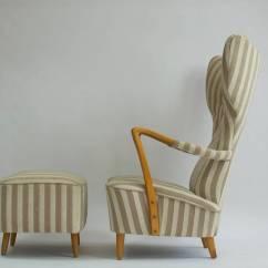 Swedish High Chair White Table And Set 1950s Back Lounge Ottoman At 1stdibs