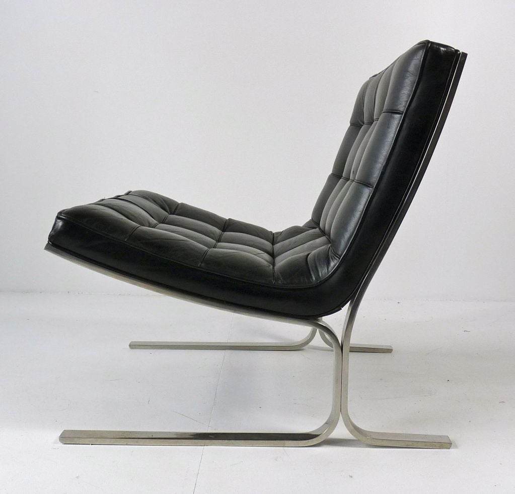 Black Leather Lounge Chair Nicos Zographos Black Leather Lounge Chair