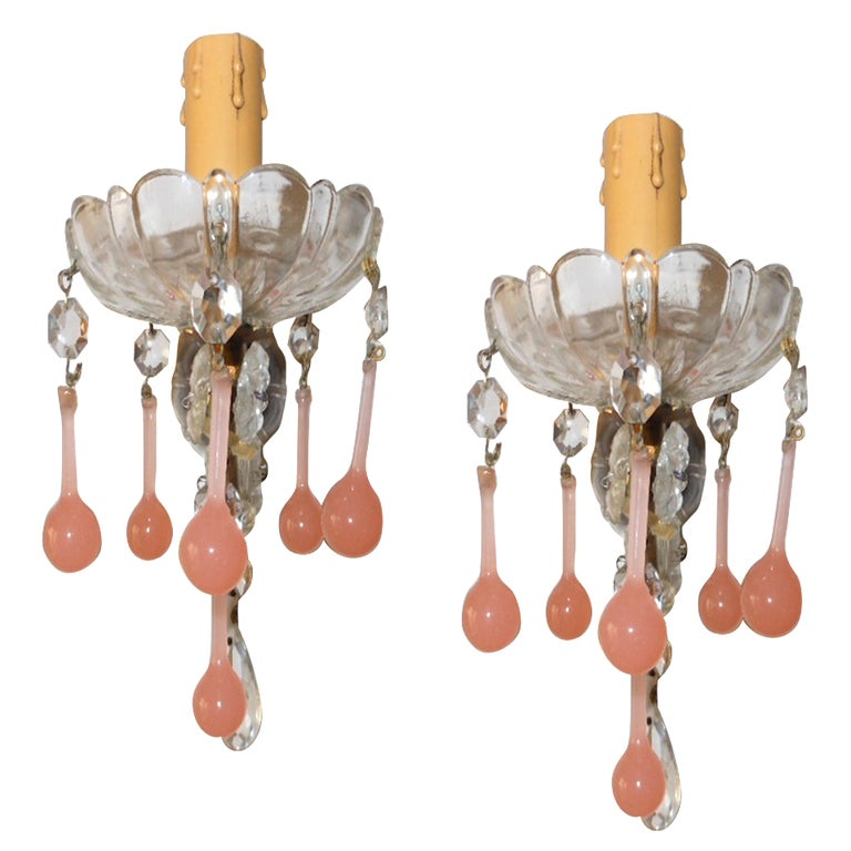 Pair Vintage Pink Crystal Sconces at 1stdibs