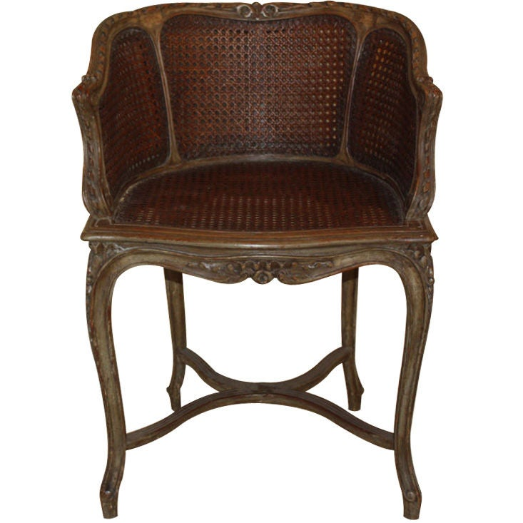 Louis XV Style Cane and Beechwood Boudoir Chair at 1stdibs