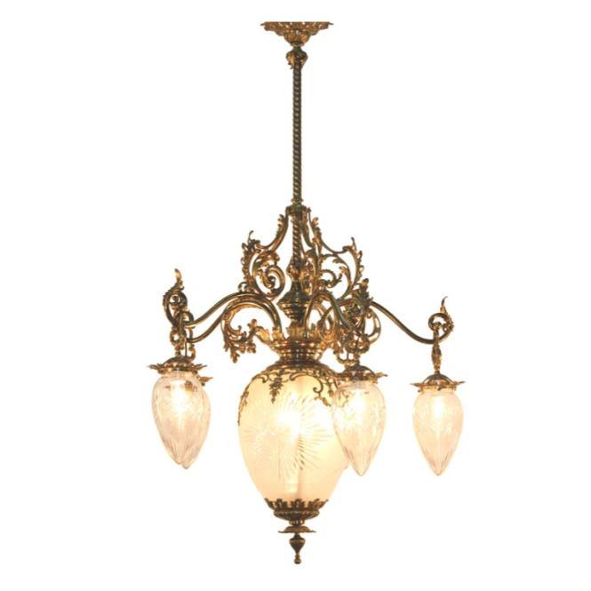 American Victorian Cut Glass And Gilt Bronze Chandelier 1