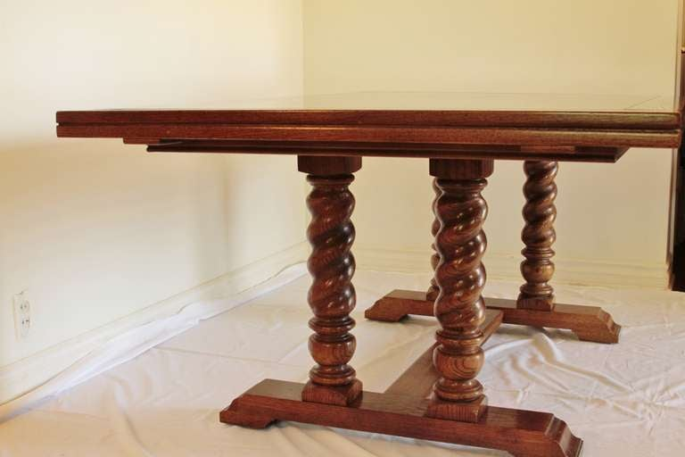 large round oak dining table 8 chairs skull chair for sale jacobean style with barley twist column legs at 1stdibs