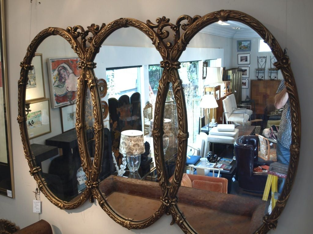 Antique French Style Triple Gold Wall Mirror At 1stdibs