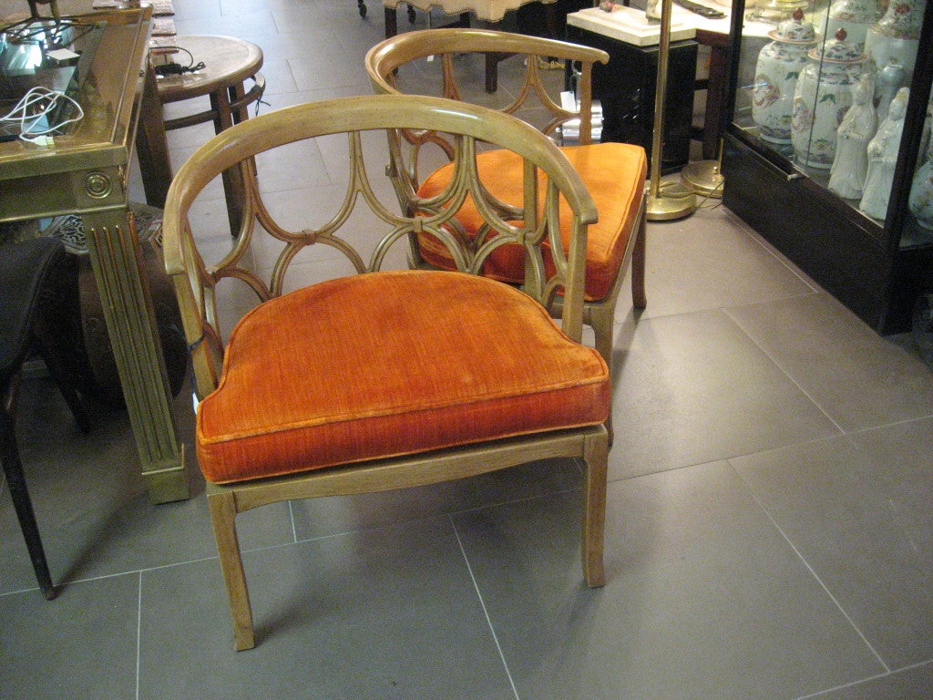 bentwood cane seat chairs does medicare cover shower pair of beige barrel back with orange cushions at 1stdibs