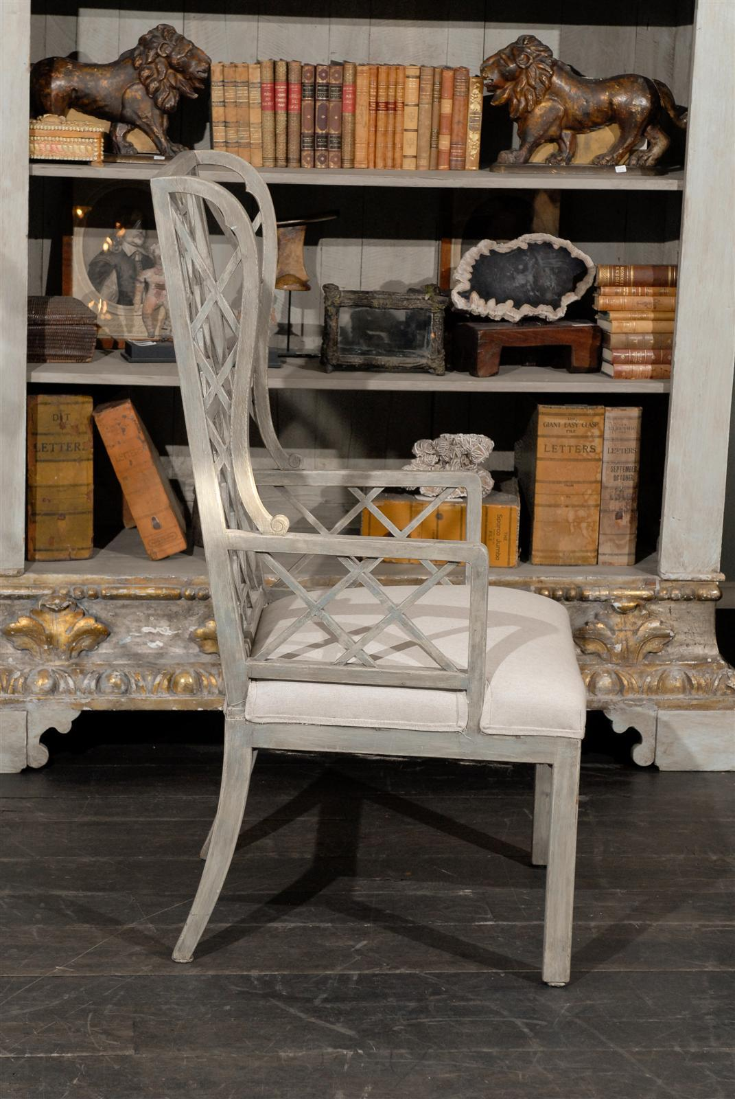 adrian pearsall chair dining table set 6 chairs chinese chippendale light grey or blue painted wood high back at 1stdibs