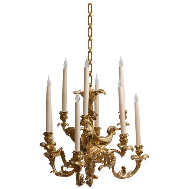 Nine Arm Rococo Gilt Bronze Chandelier 1