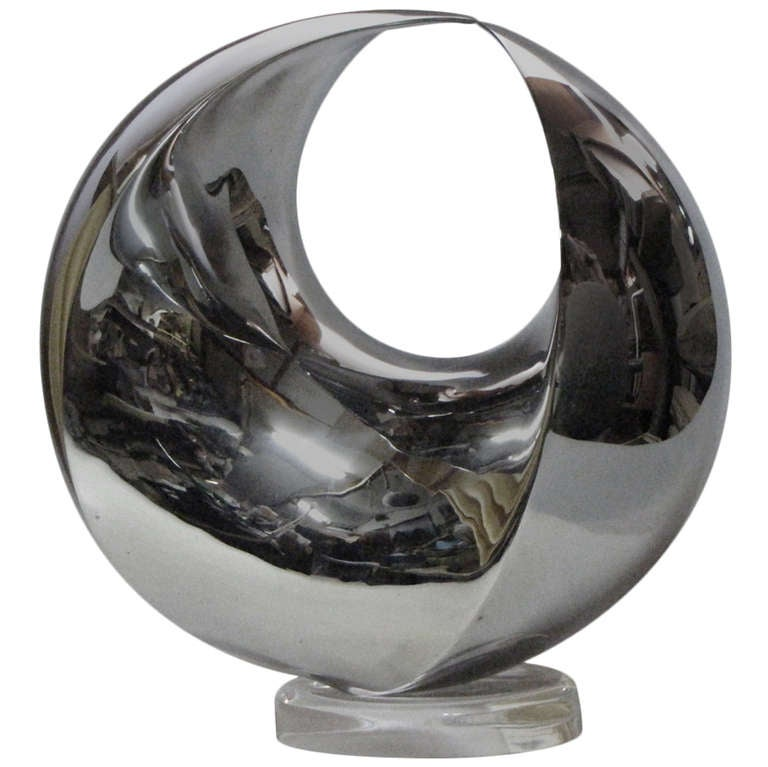 Contemporary abstract sculpture by Samvado 4D Sphere in Stainless Steel 300mm at 1stdibs