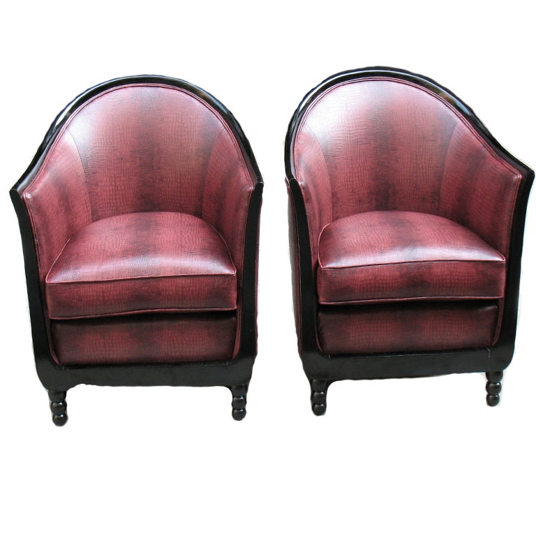 Pair Of French Art Deco Barrel Back Bergeres At 1stdibs