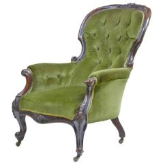 Dark Walnut Dining Chairs Game Walmart 19th Century Victorian Carved Lounge Chair At 1stdibs