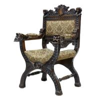 19th Century Antique Carved Oak X Frame Throne Chair at ...
