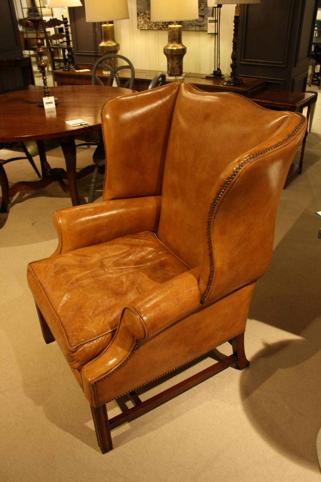 Leather Wing Back Chair Sudbury Wing Chair In Light Tan Leather At 1stdibs
