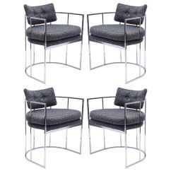 Milo Baughman Dining Chairs Folding Chair Step Stool Four Chrome For Sale At 1stdibs