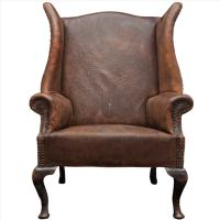 Oversized English Leather Wingback Chair at 1stdibs