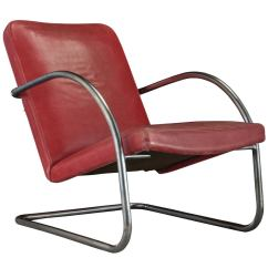 Red Lounge Chair Power Accessories Cup Holder Chrome And Leather For Sale At 1stdibs