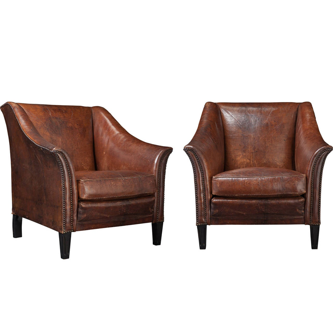 Pair of Leather Club Chairs at 1stdibs
