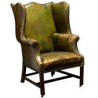 Oversized English Green Leather Wingback Chair at 1stdibs