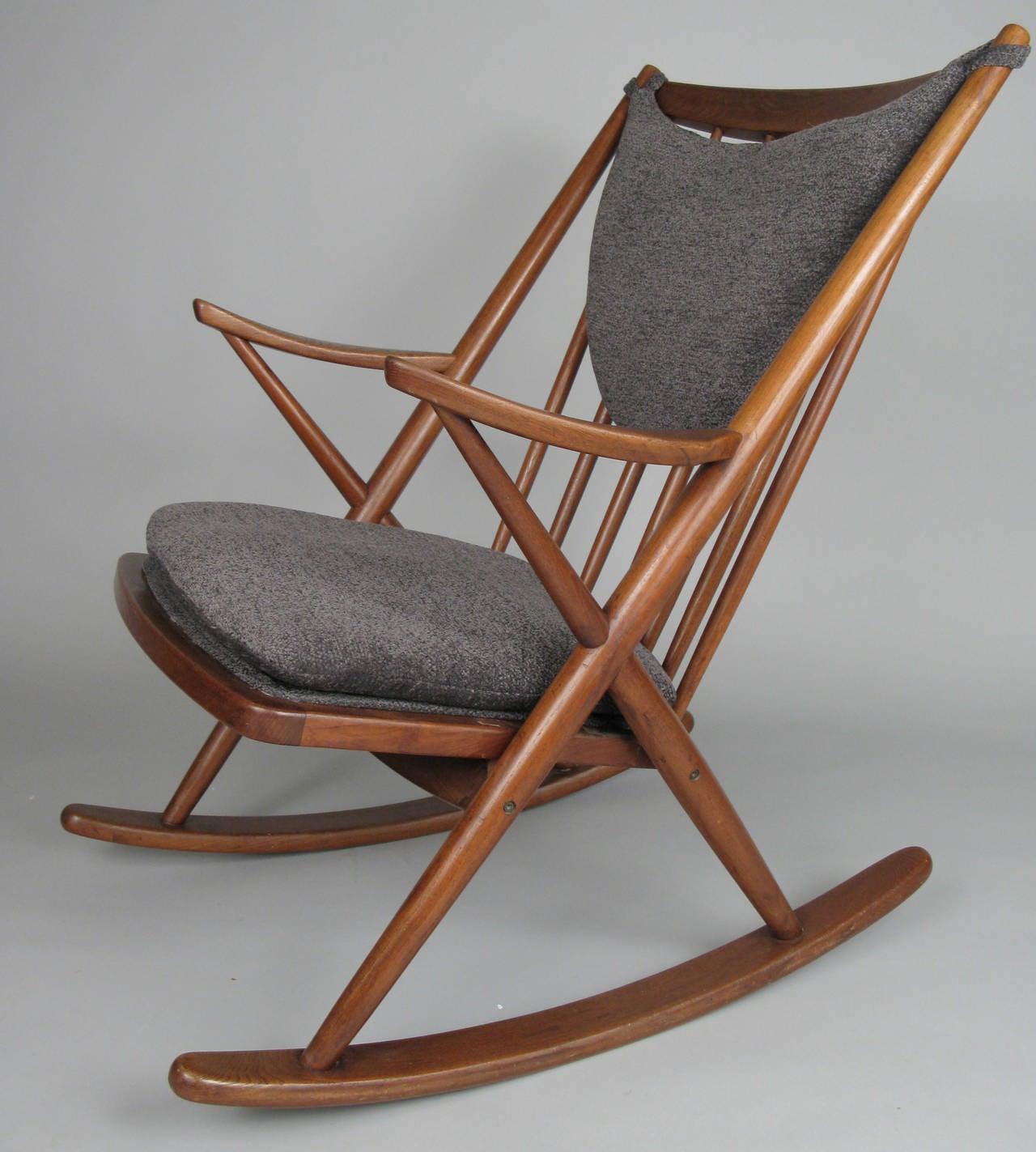 danish modern rocking chair prospera massage 1950s teak by frank reenskaug